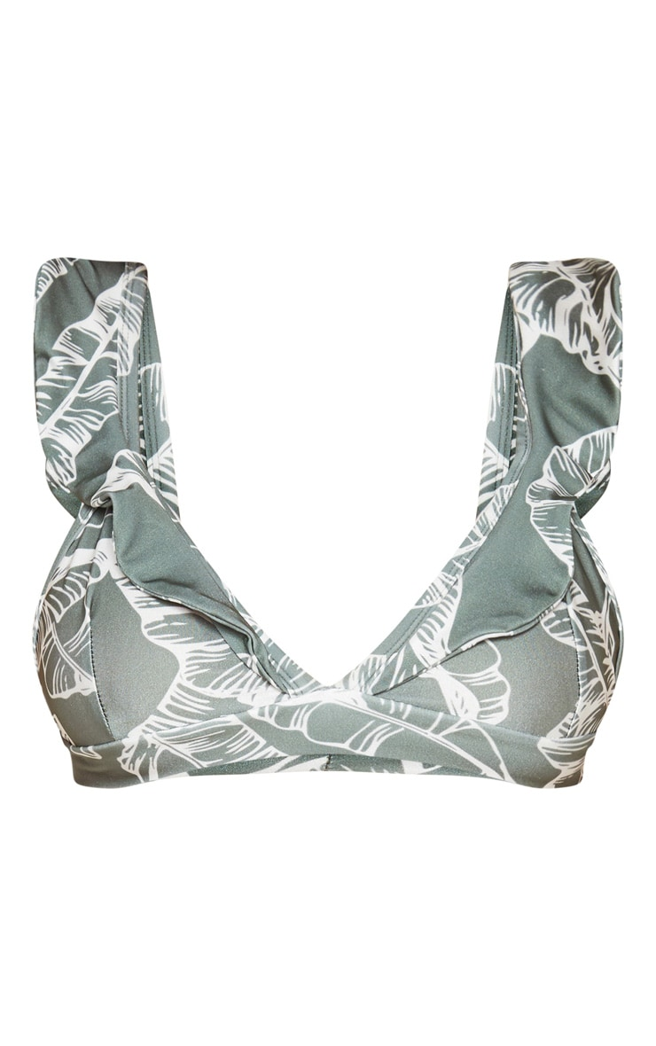 Khaki Leaf Print Frill Bikini Top 3