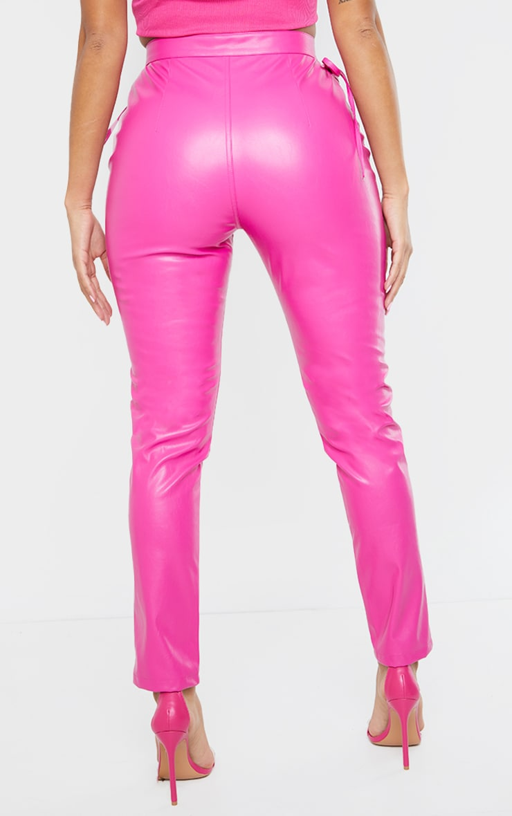 Shape Hot Pink PU Cut Out Tie Detail Straight Leg Trousers 3