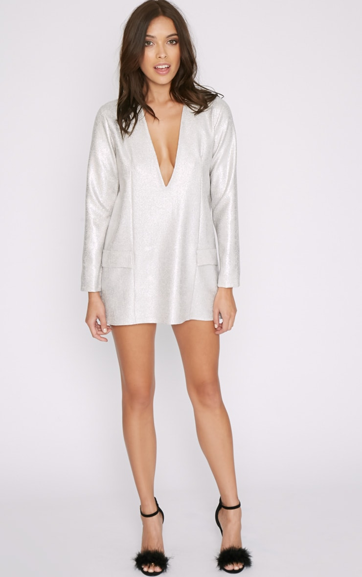Jemima Silver Iridescent Blazer Dress 6