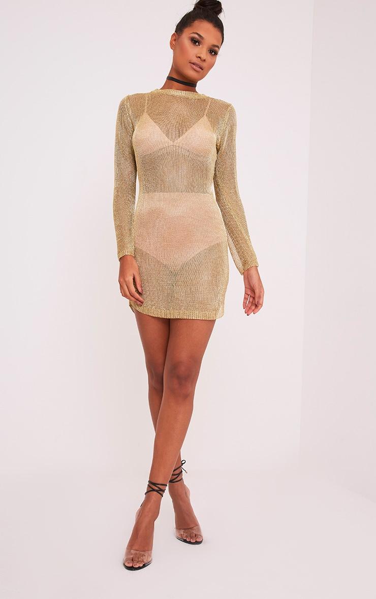 Acallia robe pull surdimensionné en maille or métallisé 4