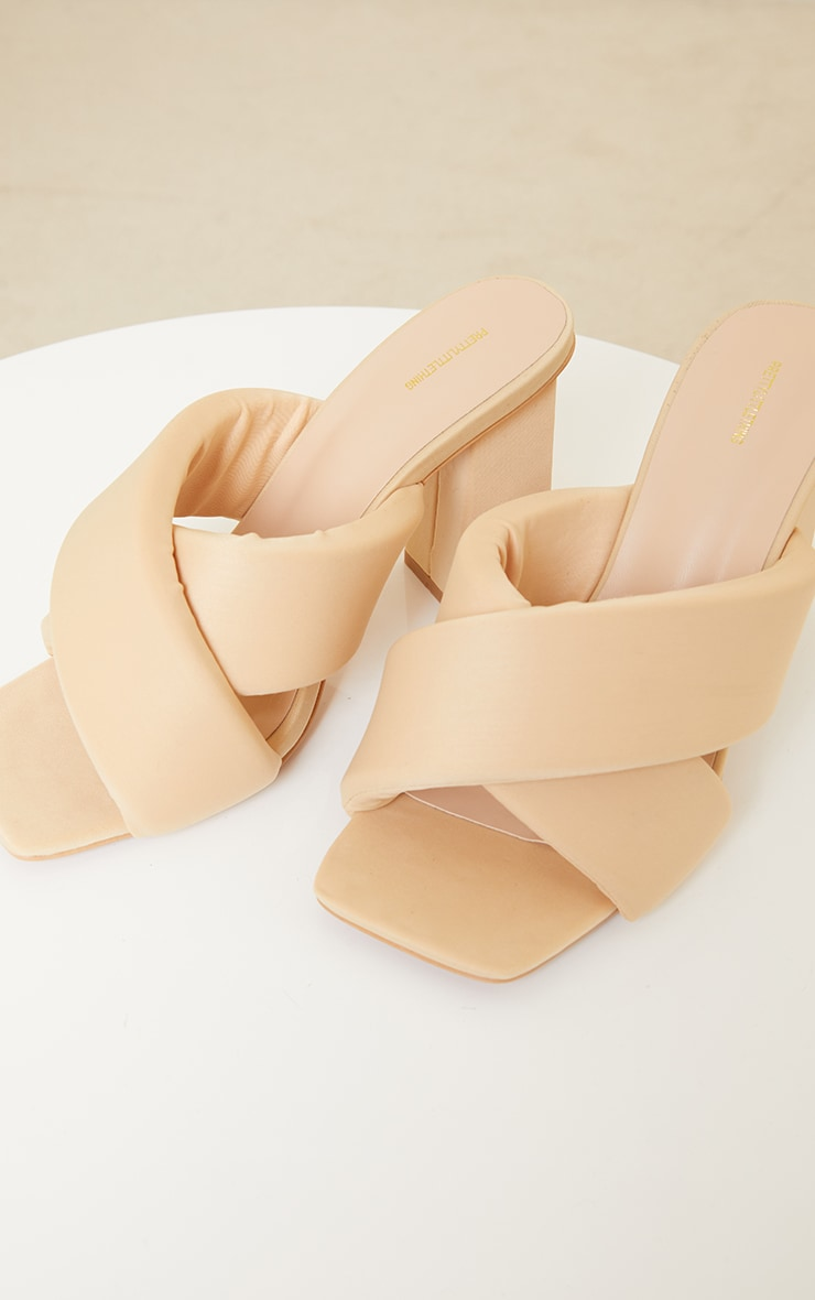 Beige Square Toe Quilted Cross Over Block Heel Mules 4