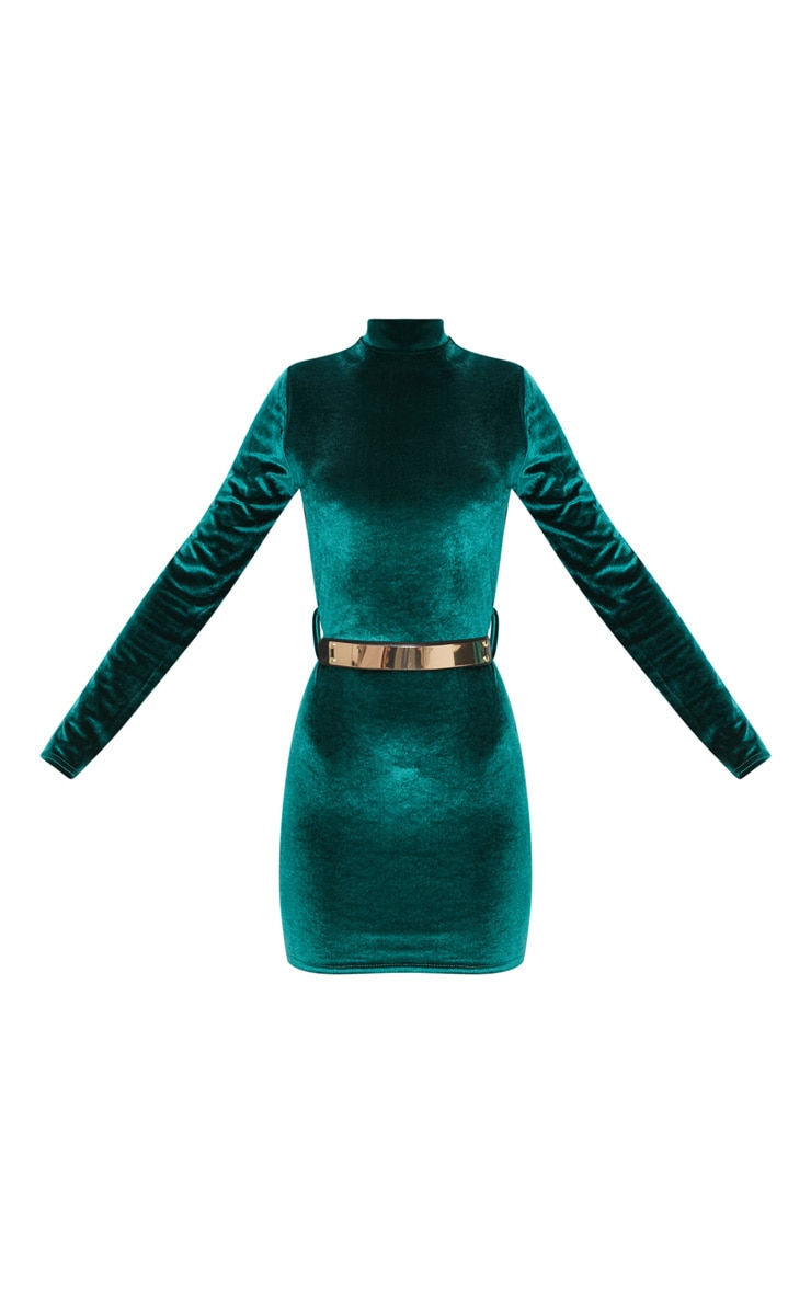 Emerald Green Velvet High Neck Belted Bodycon Dress 3