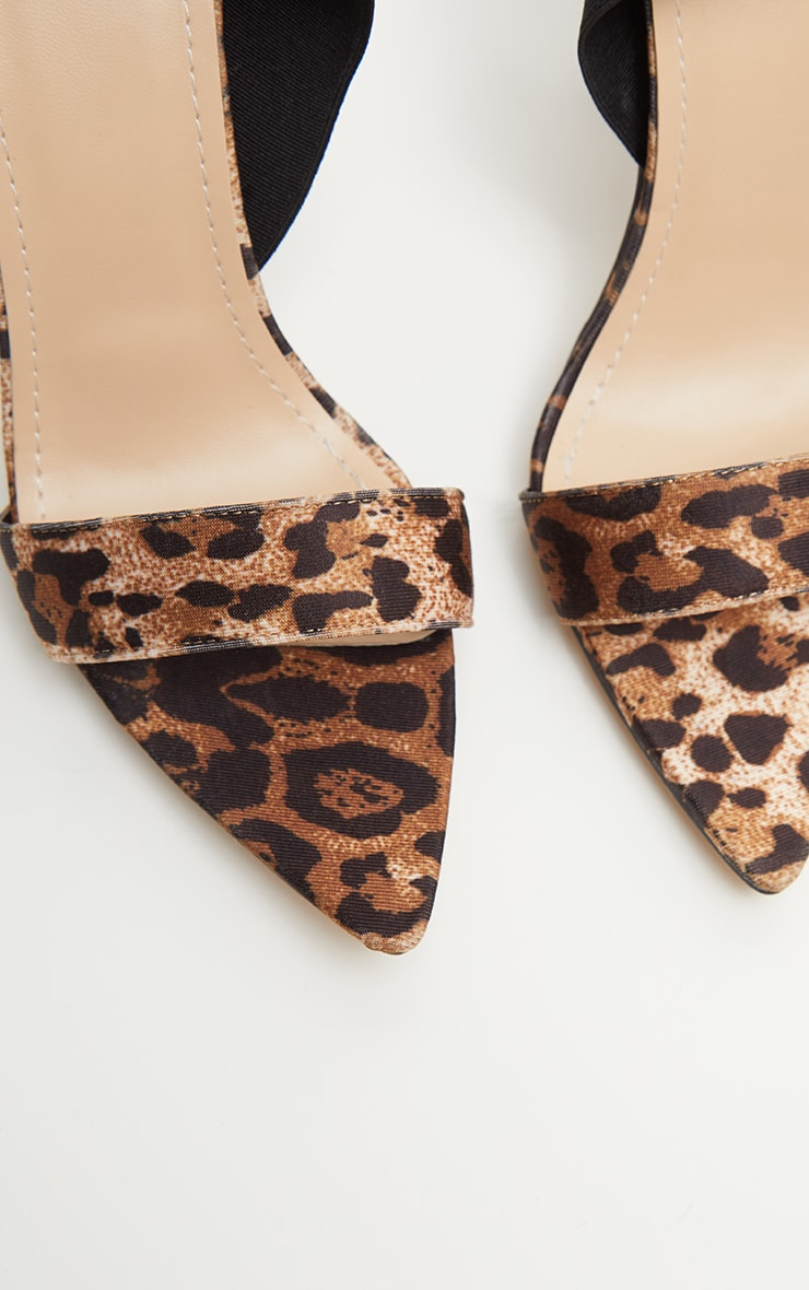 Leopard Elastic Point Toe Strappy Sandal 4