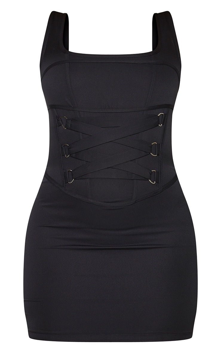 Black Woven Corset Lace Up Detail Sleeveless Bodycon Dress 5