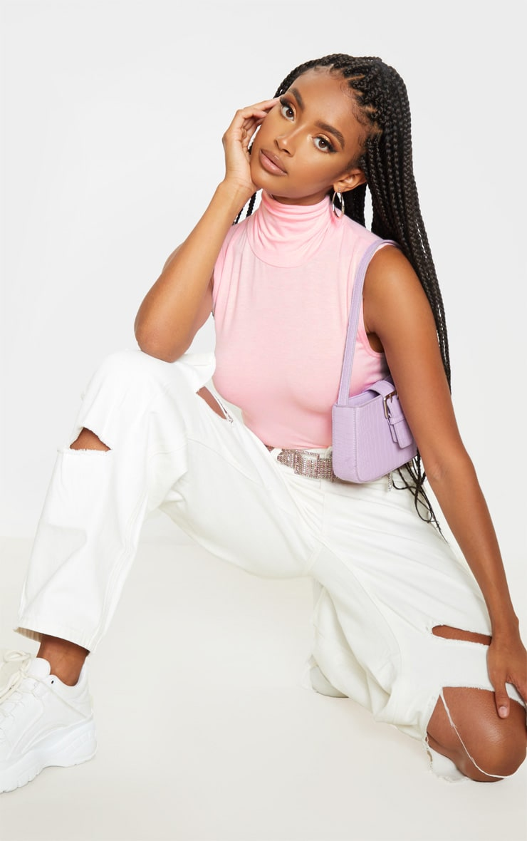 Basic Baby Pink Jersey Roll Neck Sleeveless Crop Top 4