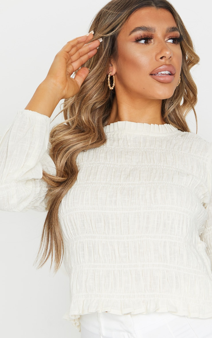 Sand Woven Ruched Top 4