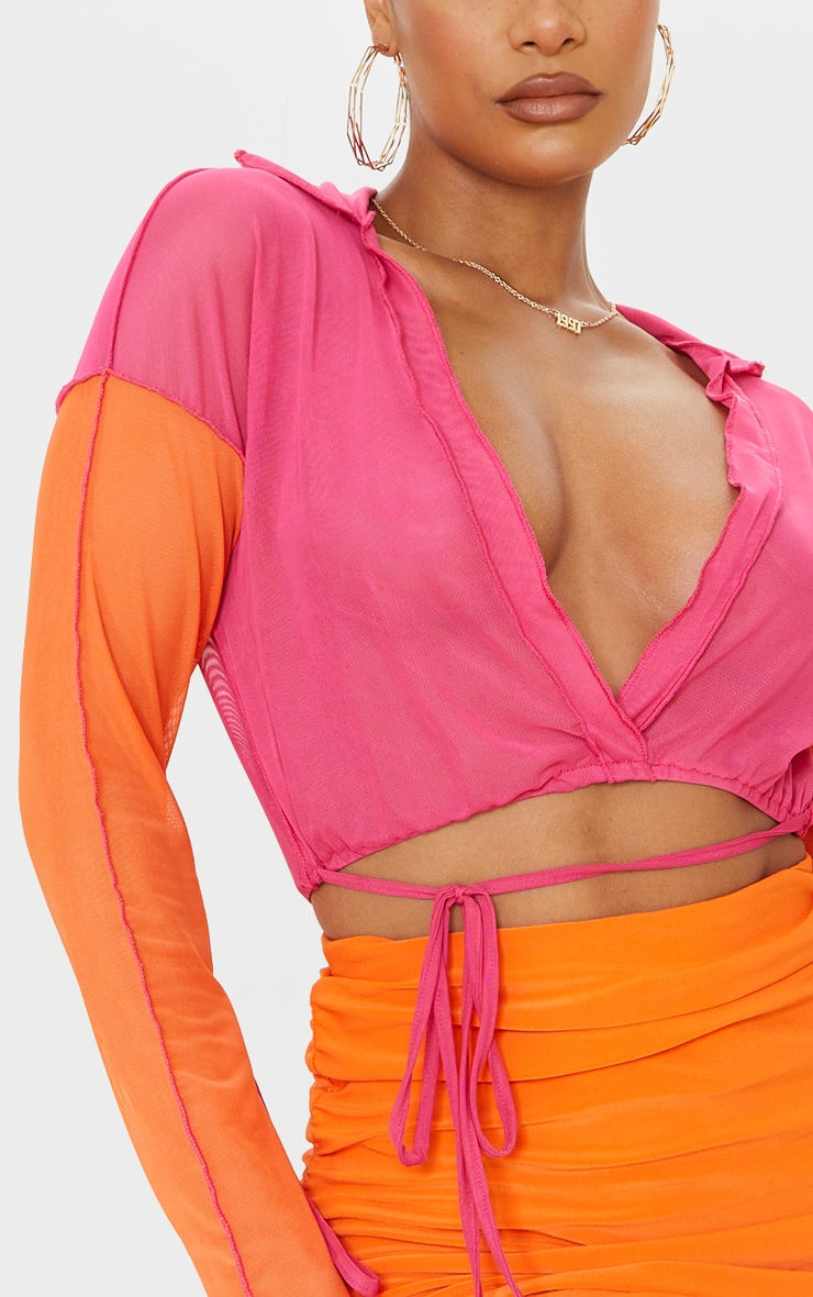 Hot Pink Mesh Contrast Multi Tie Long Sleeve Plunge Crop Top 4