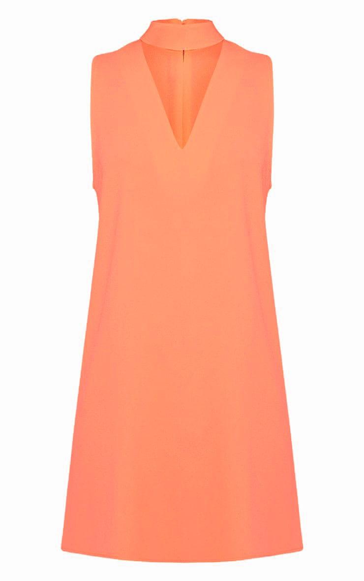 Cinder Neon Peach Choker Detail Loose Fit Dress 3
