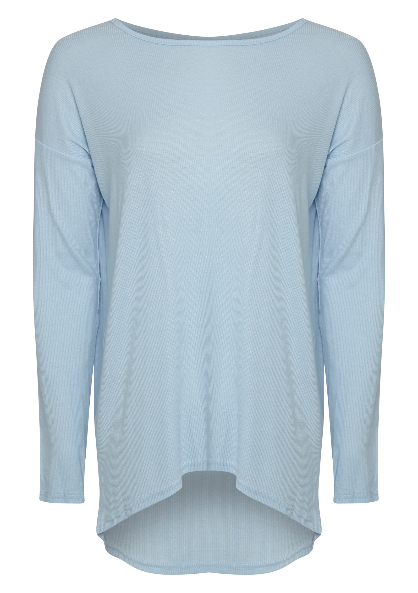 Sienna Powder Blue Ribbed Dipped Hem Top  5