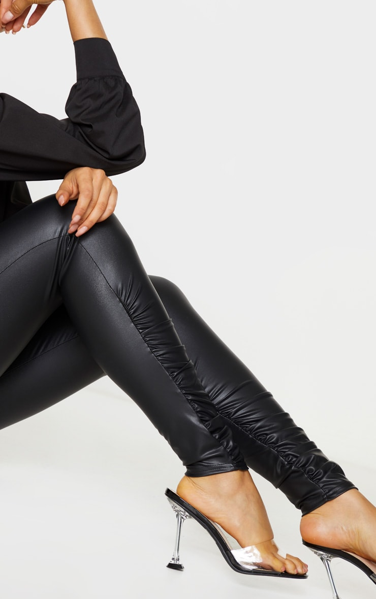 Tall Black Coated PU Ruched Ankle Leggings 4