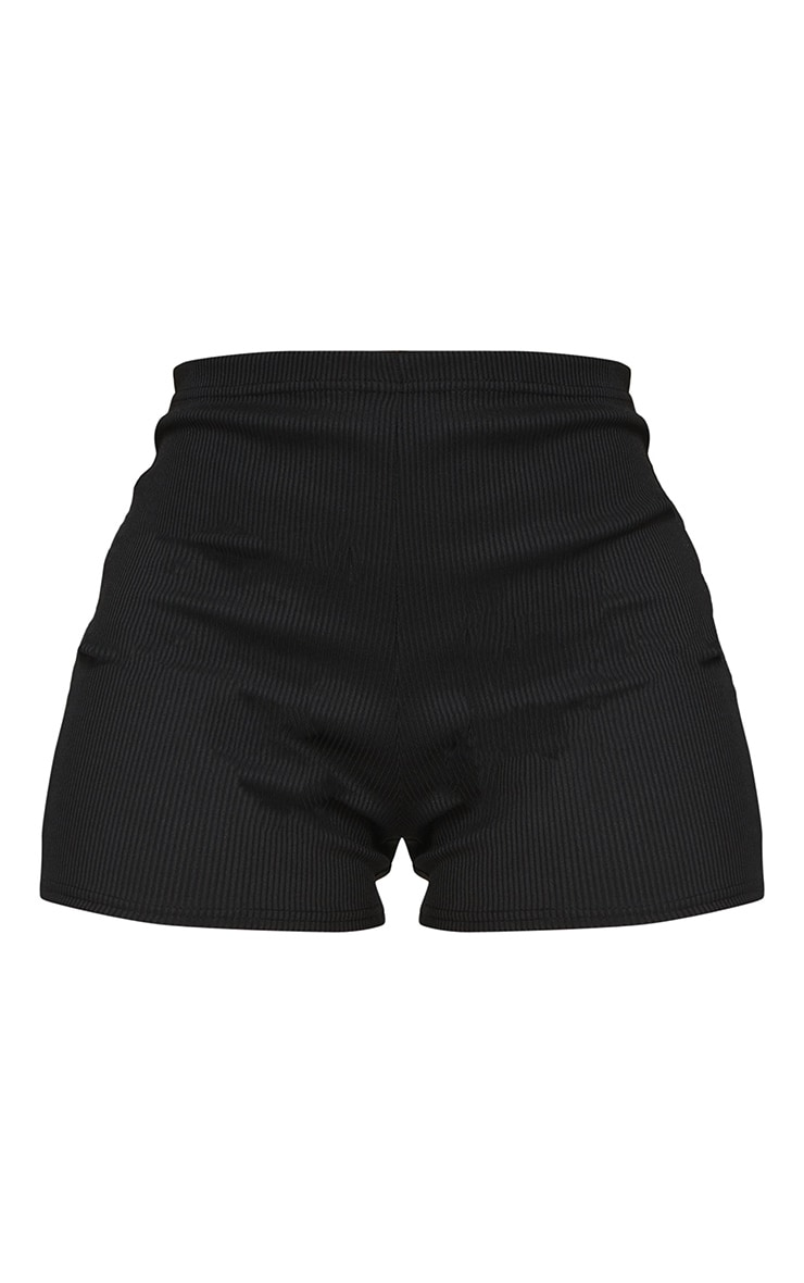 Black Thick Rib High Waist Runner Shorts 6