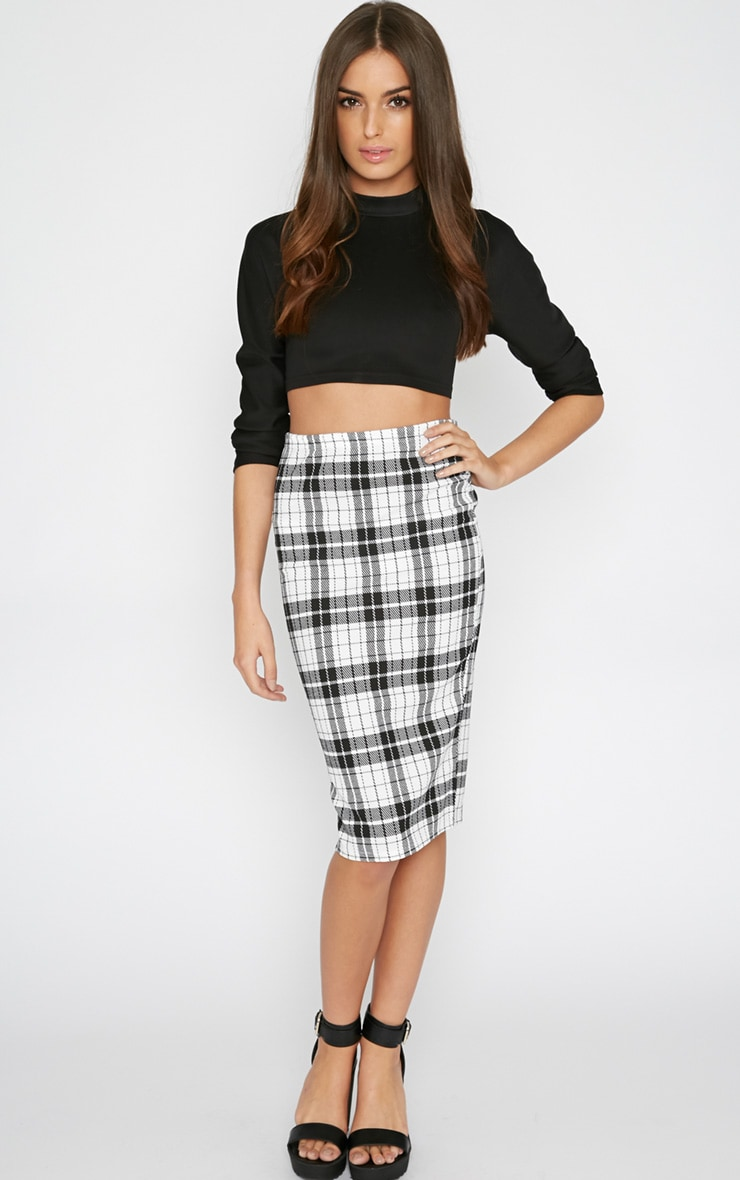 Nia Monochrome Check Midi Skirt  1