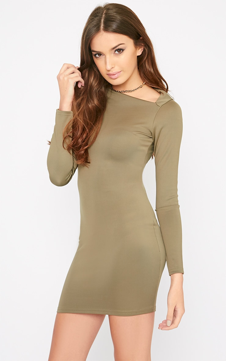 India Khaki Slash Neck Bodycon Dress 4