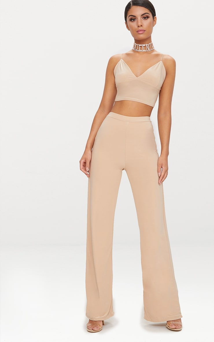 Champagne Slinky Palazzo Trousers 1