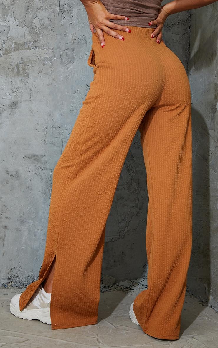 Camel Textured Rib Split Hem Wide Leg Pants 3