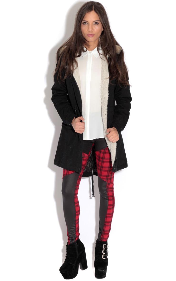 Saskia Black Shearling Parka Coat 4