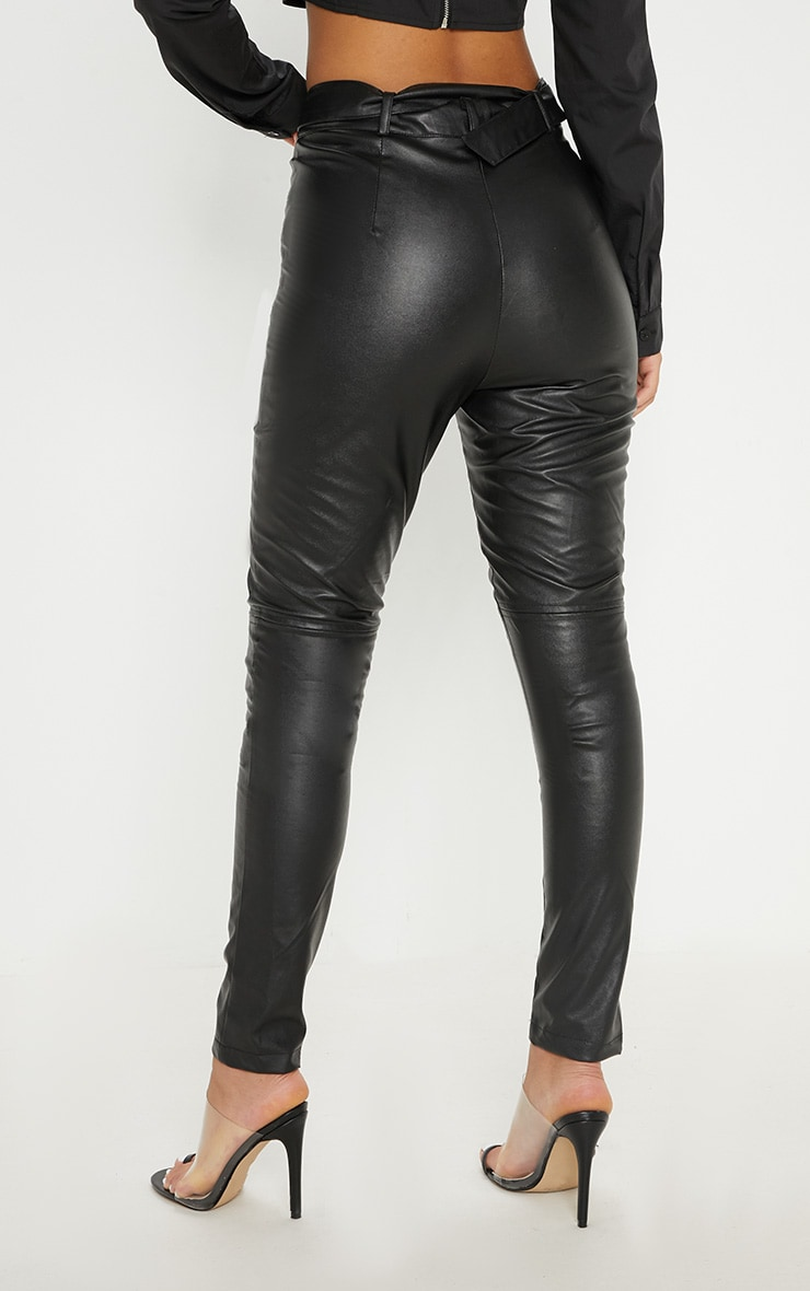 Black Faux Leather Belted Zip Detail Skinny Pants 4