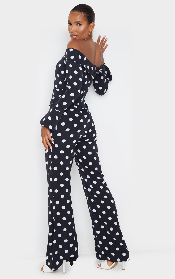 Black Polka Dot Bardot Long Sleeve Jumpsuit 2
