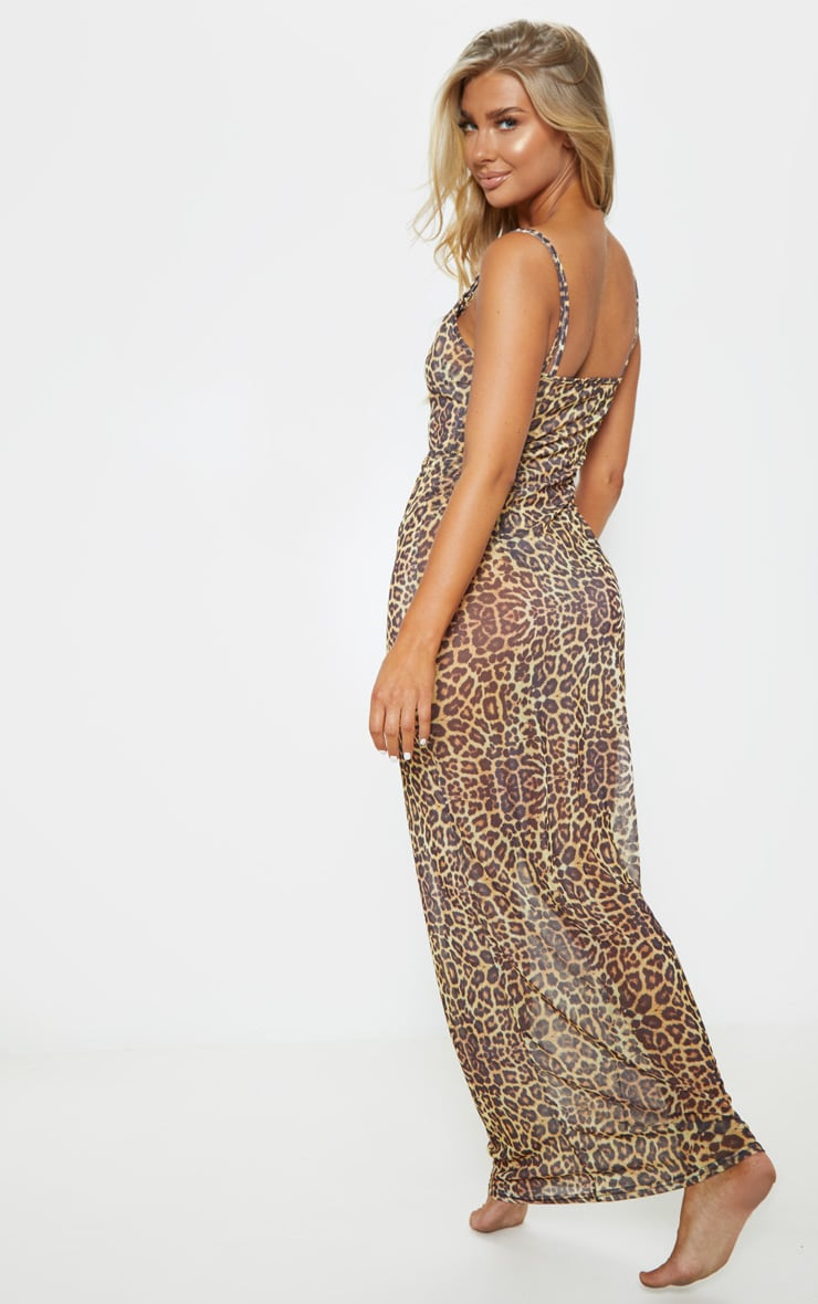 Leopard Mesh Maxi Beach Dress 2