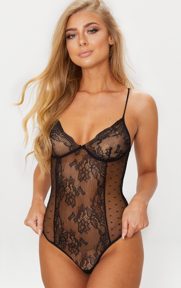 Black Floral Lace & Dobby Mesh Cup Detail Body 1