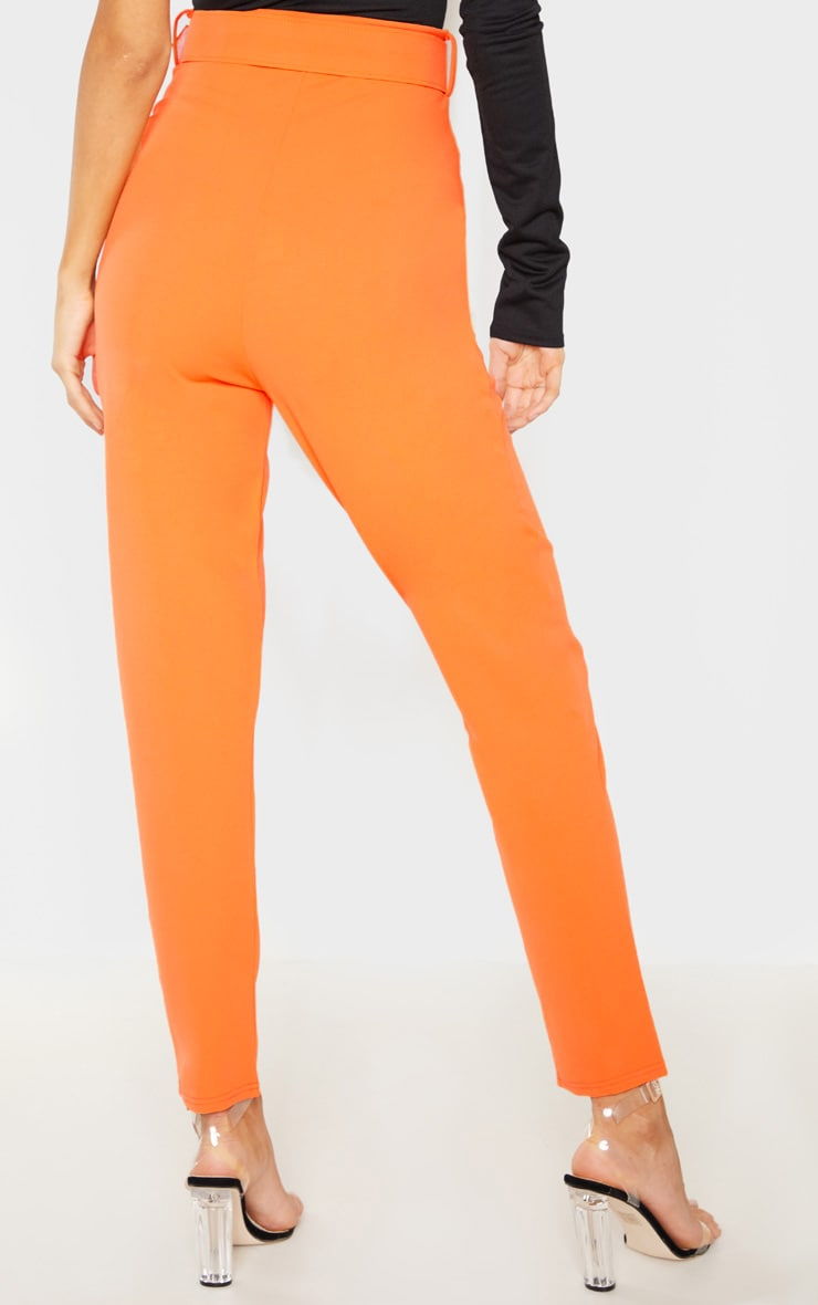 Tall Bright Orange High Waisted Belt Detail Trouser  4