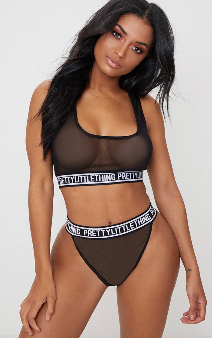 PRETTYLITTLETHING Black Mesh High Waisted Pant