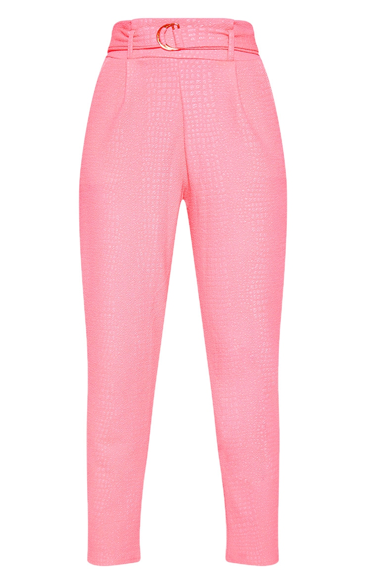 Neon Pink Croc Print D Ring Belted Skinny Pants 3
