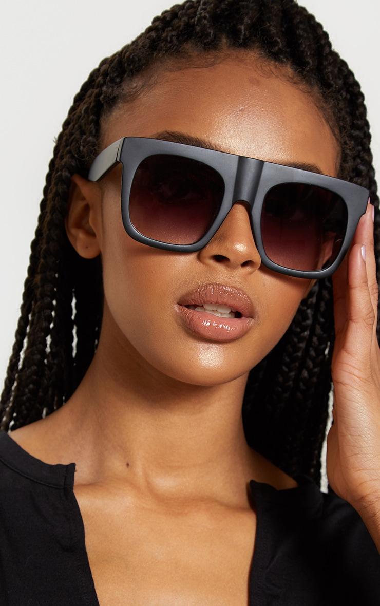 Black Matte Flat Top Faded Lens Sunglasses  1