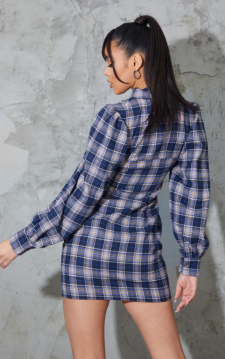 Navy Check Cut Out Bust Detail Bodycon Dress 2