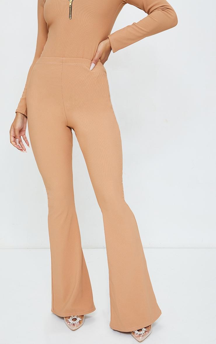 Camel Bandage High Waist Flared Trousers 2