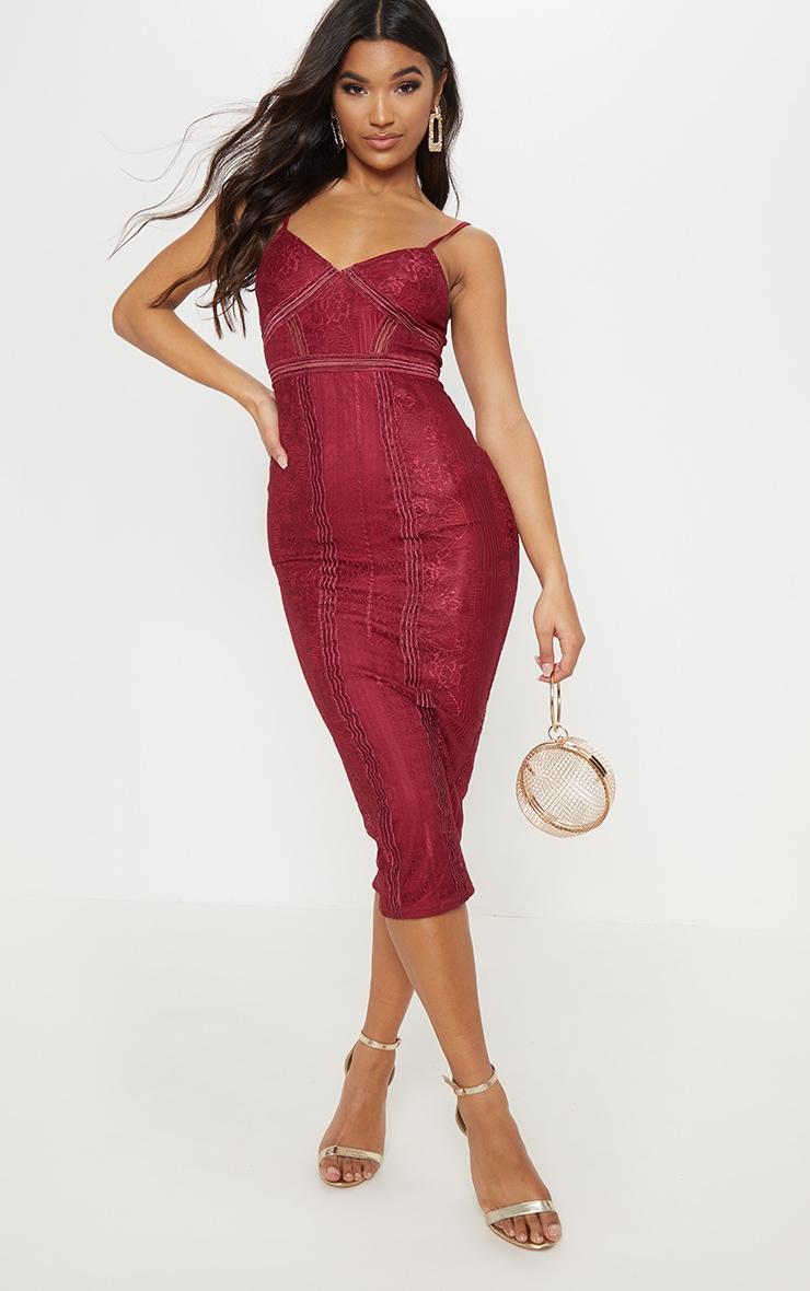 Burgundy Lace Mesh Stripe Insert Midi Dress 4