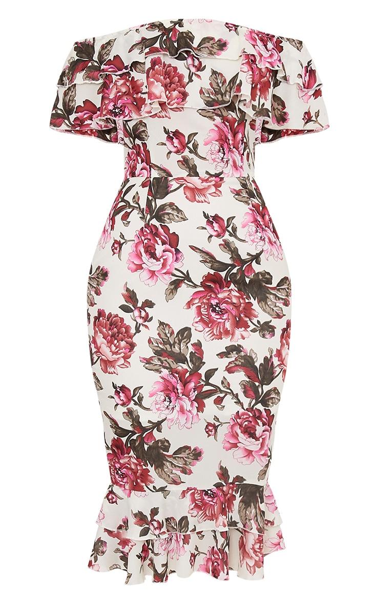 Karolina Pink Chiffon Floral Frill Bardot Midi Dress  3