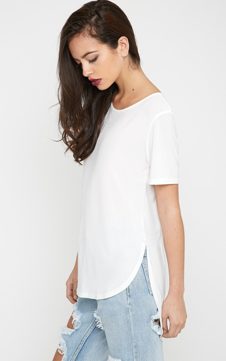 Dora White Dipped Hem Top 4