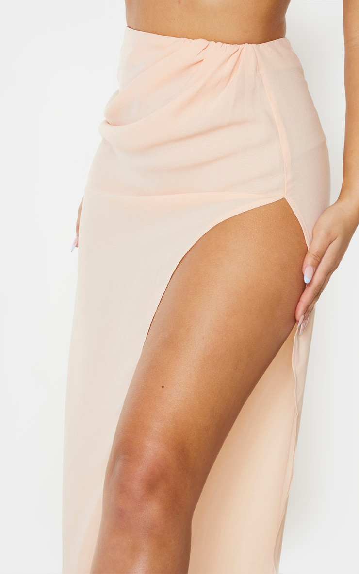 Nude Woven Ruched Side Split Maxi Skirt 4