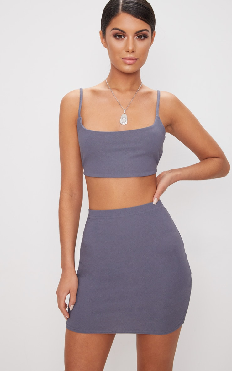 Dusky Blue Mini Skirt  1