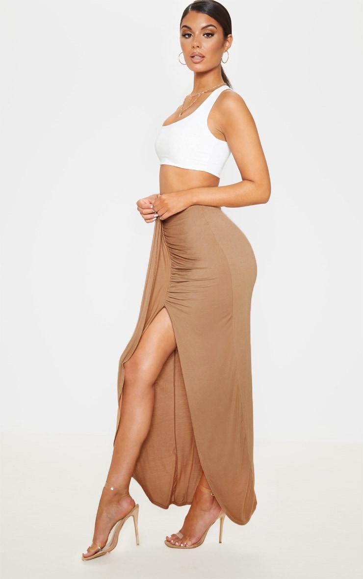 Camel Jersey Drape Front Maxi Skirt  5