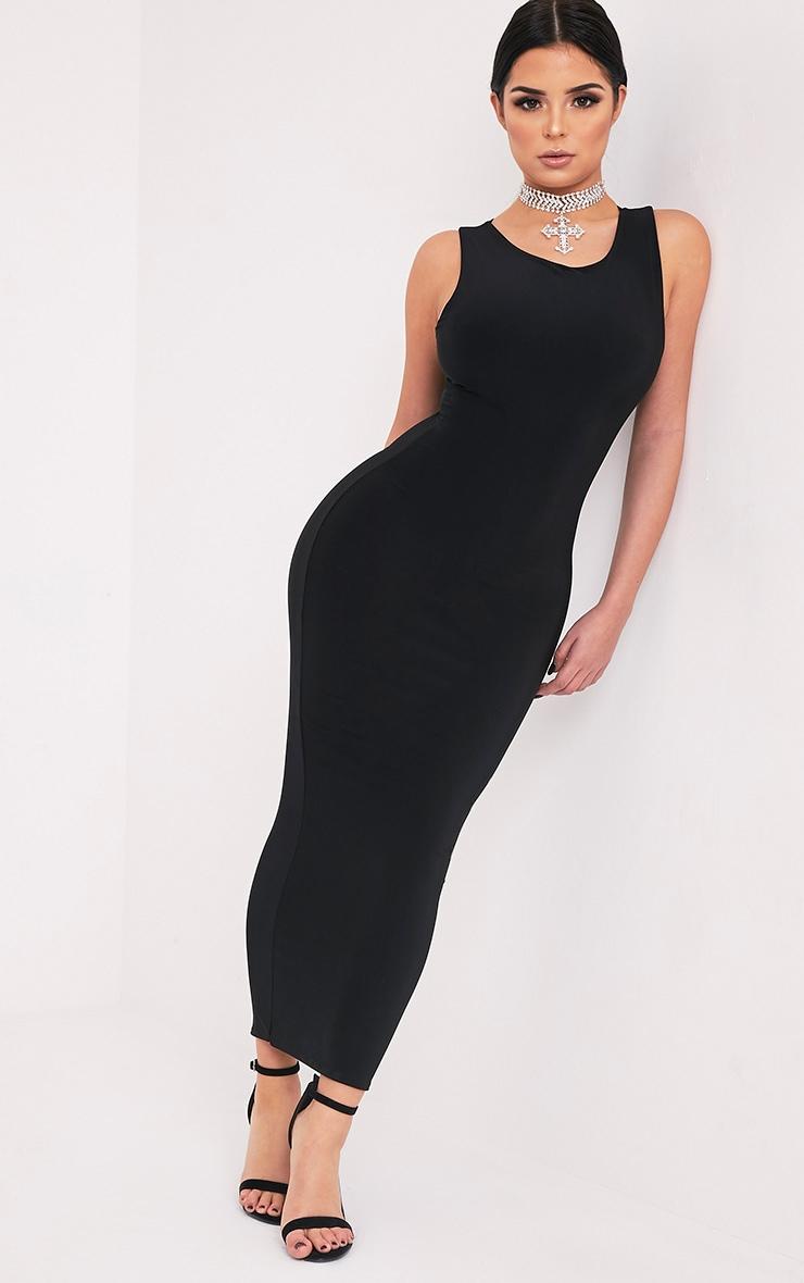 Shape Adelphe Black Crew Neck Slinky Calf Length Dress 5