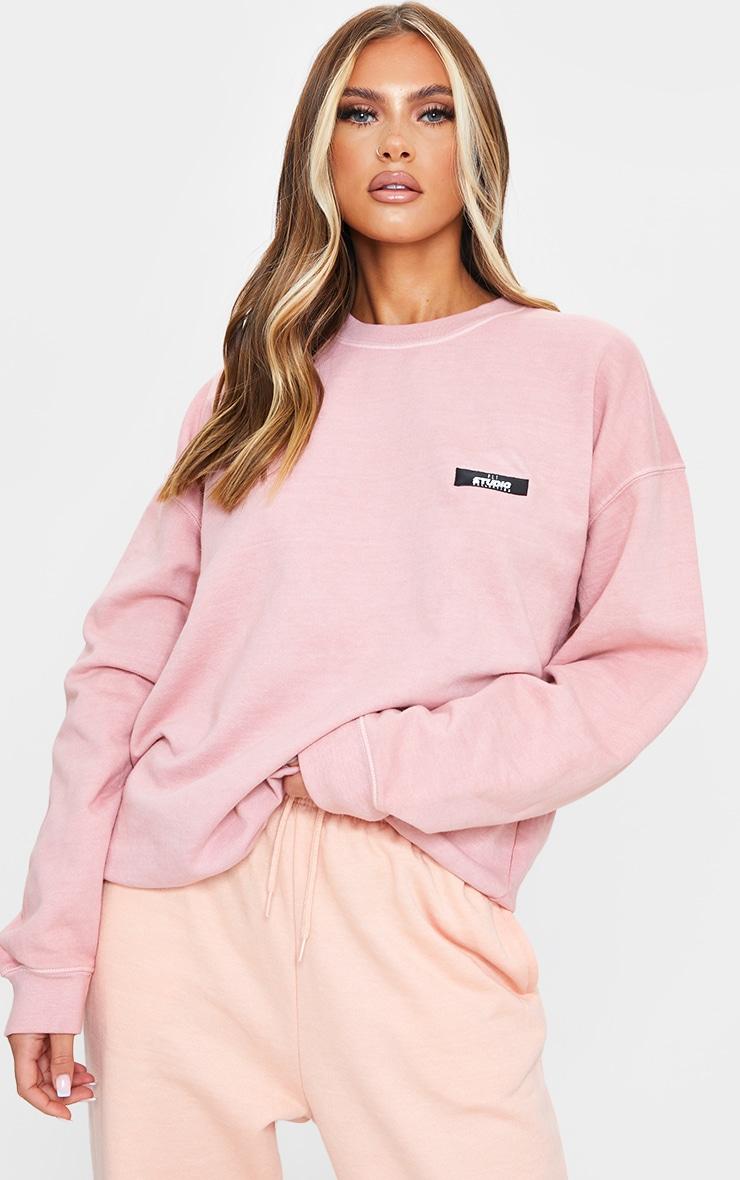 PRETTYLITTLETHING Dusty Pink Studio Washed Sweatshirt 1