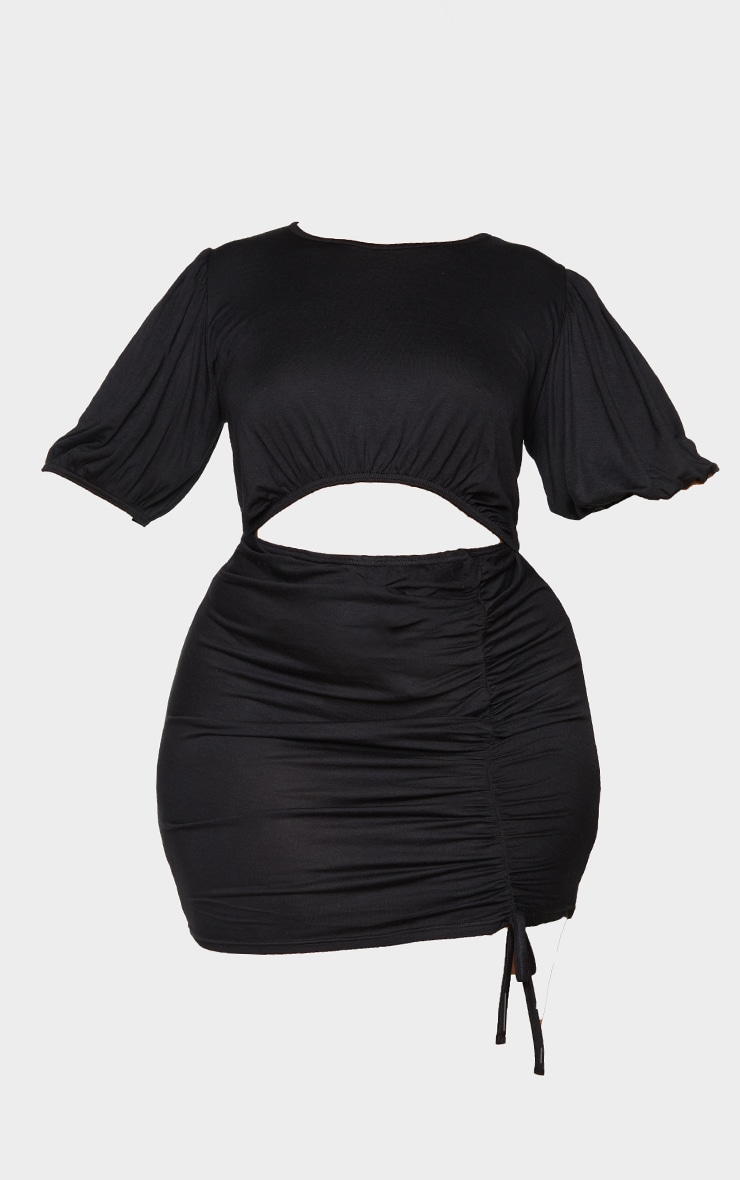PLT Plus - Mini-robe noire froncée à manches bouffantes et découpe 5