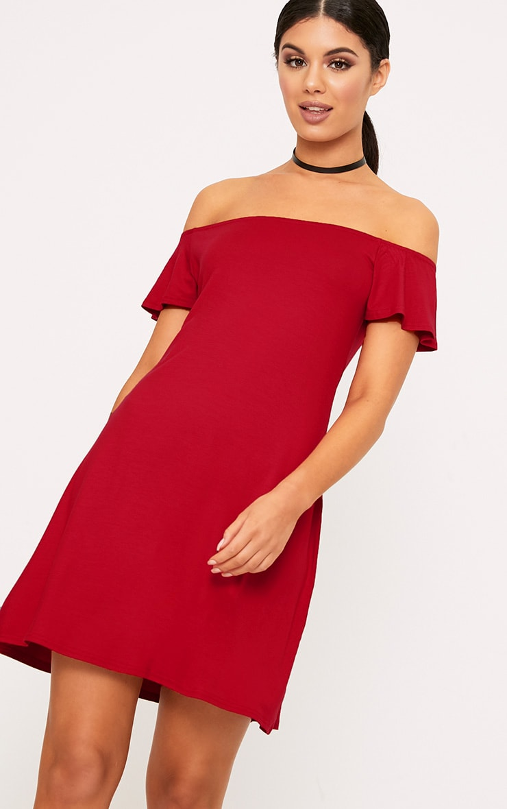 Manina Red Jersey Bardot Swing Dress 1