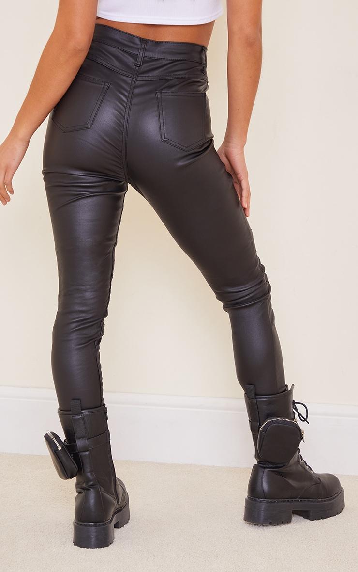 Petite Black Biker Coated Skinny Jeans 3