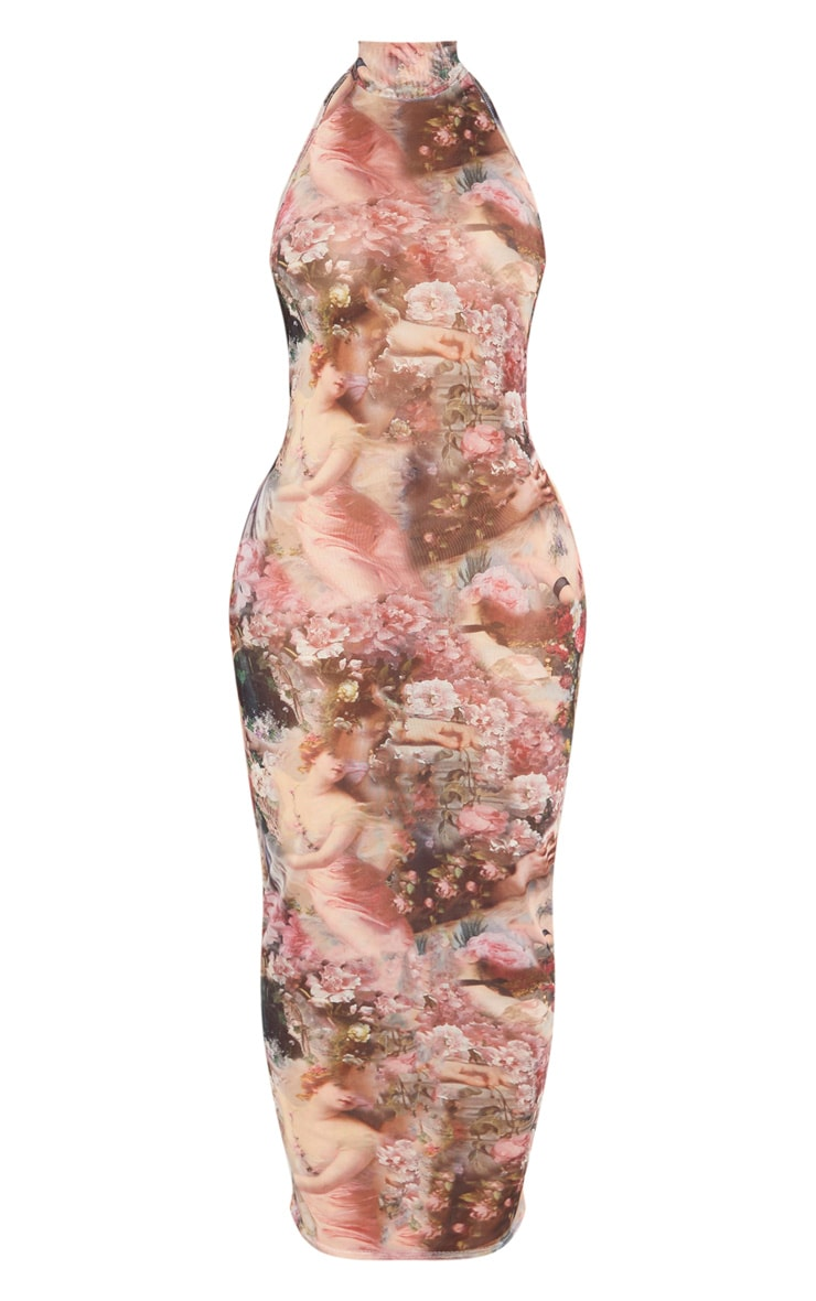 Shape Nude Renaissance Print Mesh High Neck Midaxi Dress 3