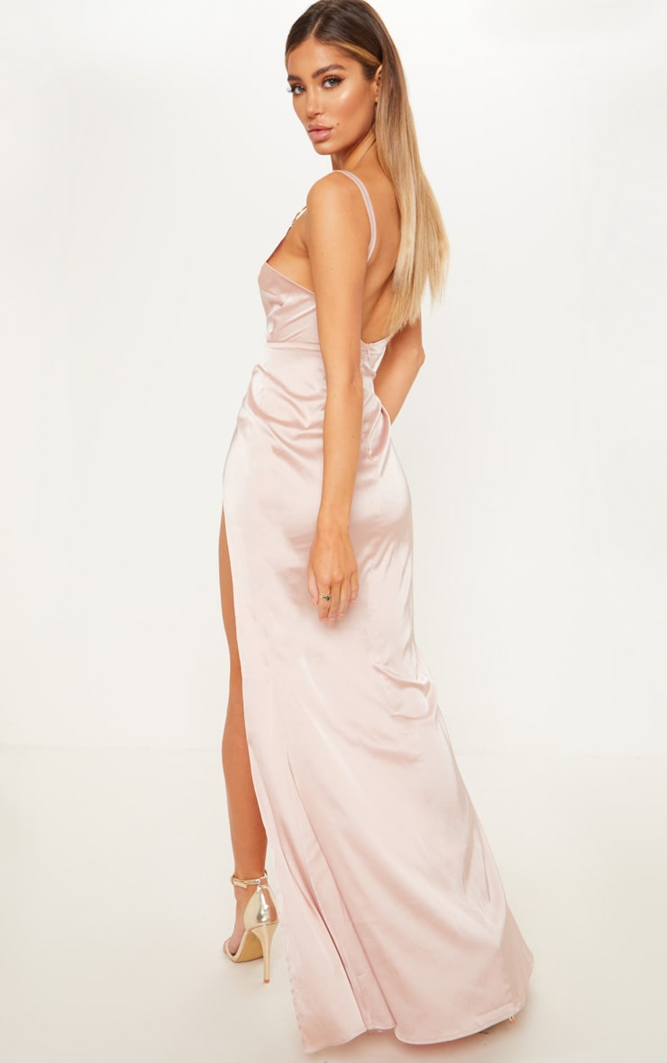 Champagne Ring Detail Extreme Plunge Maxi Dress  2