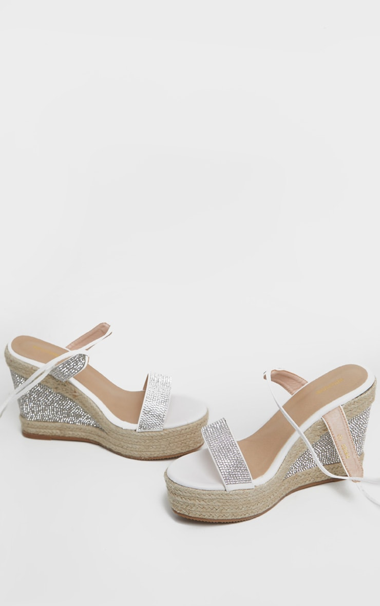 White Diamante Ankle Tie High Wedge 3