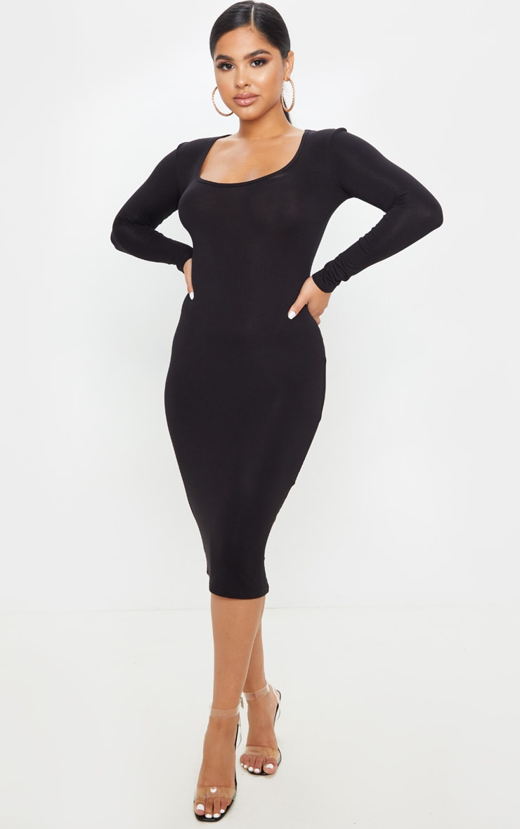 Petite Black Long Sleeve Jersey Midi Dress  1