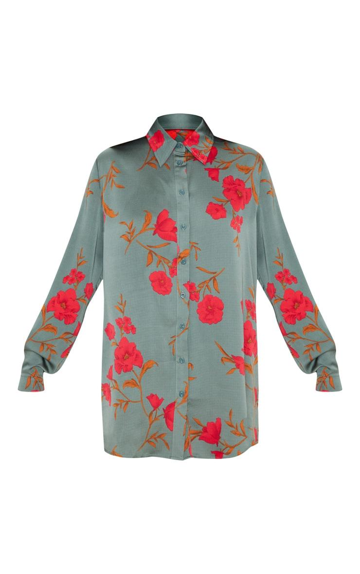 Chemise oversize verte à imprimé floral 3