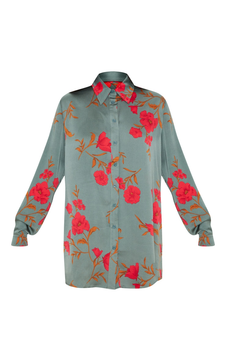 Green Floral Print Oversized Shirt 4