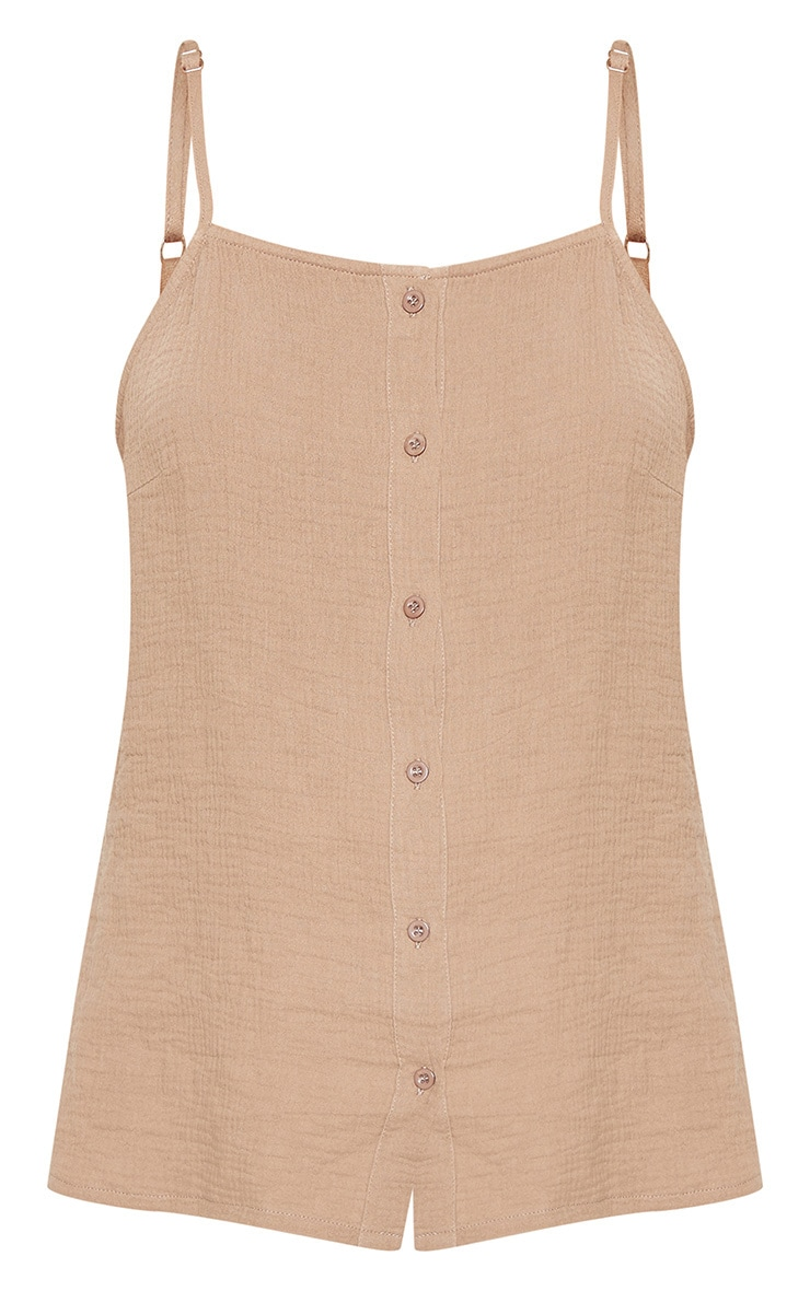 Taupe Linen Mix Button Front Oversized Cami Top 3