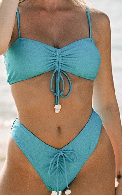 Bright Blue Ruched Front Shell Trim Bikini Bottoms 4