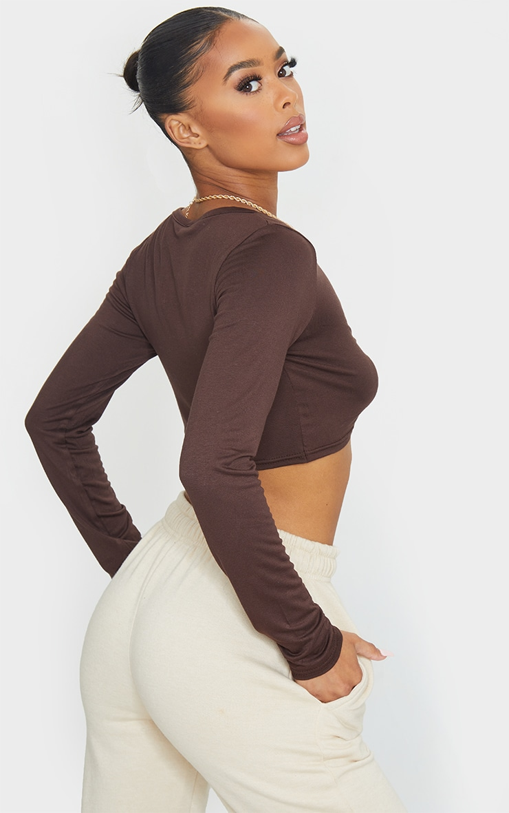 Brown Jersey Knot Front Long Sleeve Crop Top 2
